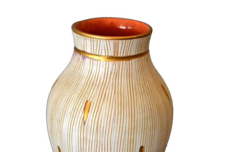 Mid-Century Modern Gold Leaf & Beige Hand Crafted Italian Ceramic Glazed Vase 1