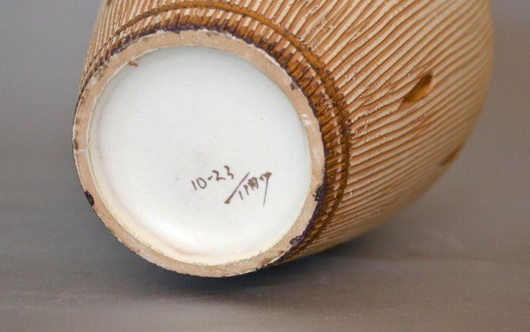 Mid-Century Modern Gold Leaf & Beige Hand Crafted Italian Ceramic Glazed Vase 3