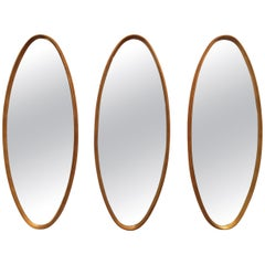 Mid-Century Modern Gold Leaf Oval Mirrors