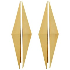 Mid-Century Modern Gold Metal Triangular Pair of Italian Sconces