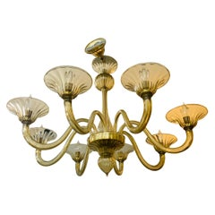 Mid-Century Modern Gold Murano Glass Eight Arm Italian Chandelier Made in Italy