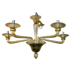 Mid-Century Modern Gold Murano Glass Five-Arm Chandelier Made in Italy