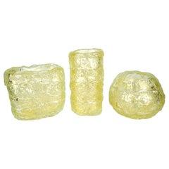 Mid-Century Modern Gold Murano Glass Vases Italian Style, 1998s