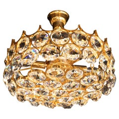 Mid-Century Modern Gold-Plated and Cut Crystal Chandelier by Bakalowits & Sohne