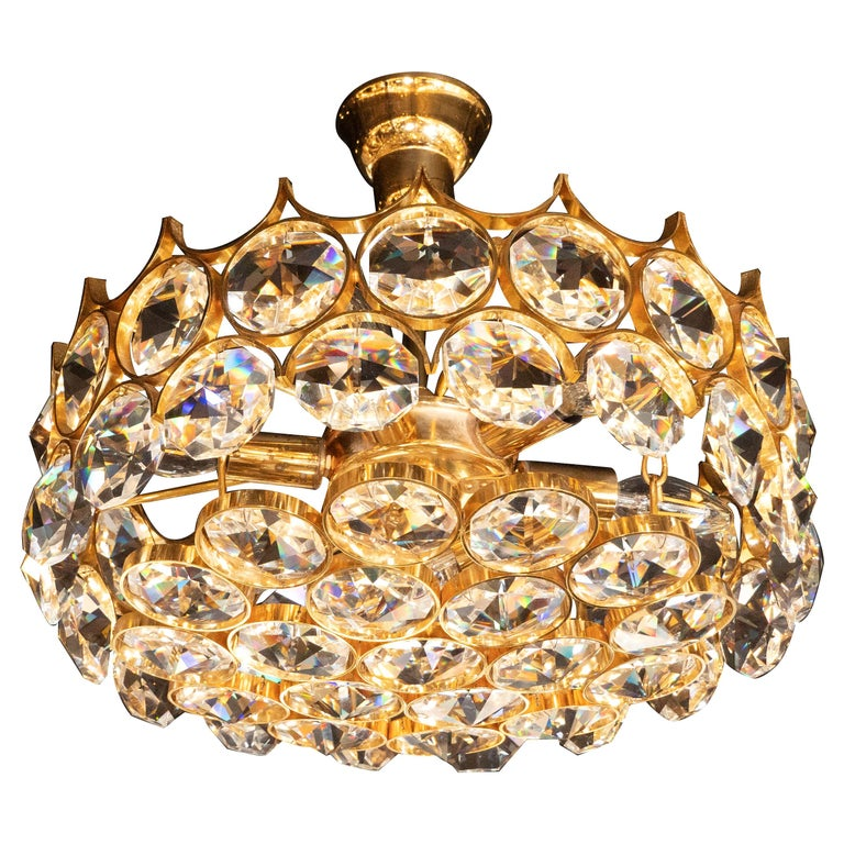 Mid-Century Modern Gold-Plated and Cut Crystal Chandelier by Bakalowits & Sohne For Sale