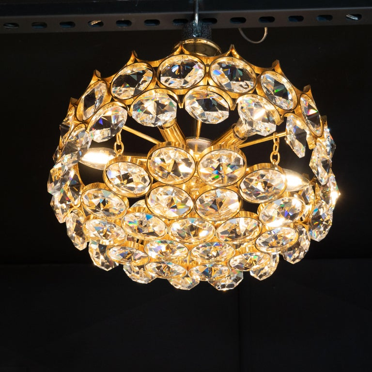 Mid-20th Century Mid-Century Modern Gold-Plated and Cut Crystal Chandelier by Bakalowits & Sohne For Sale