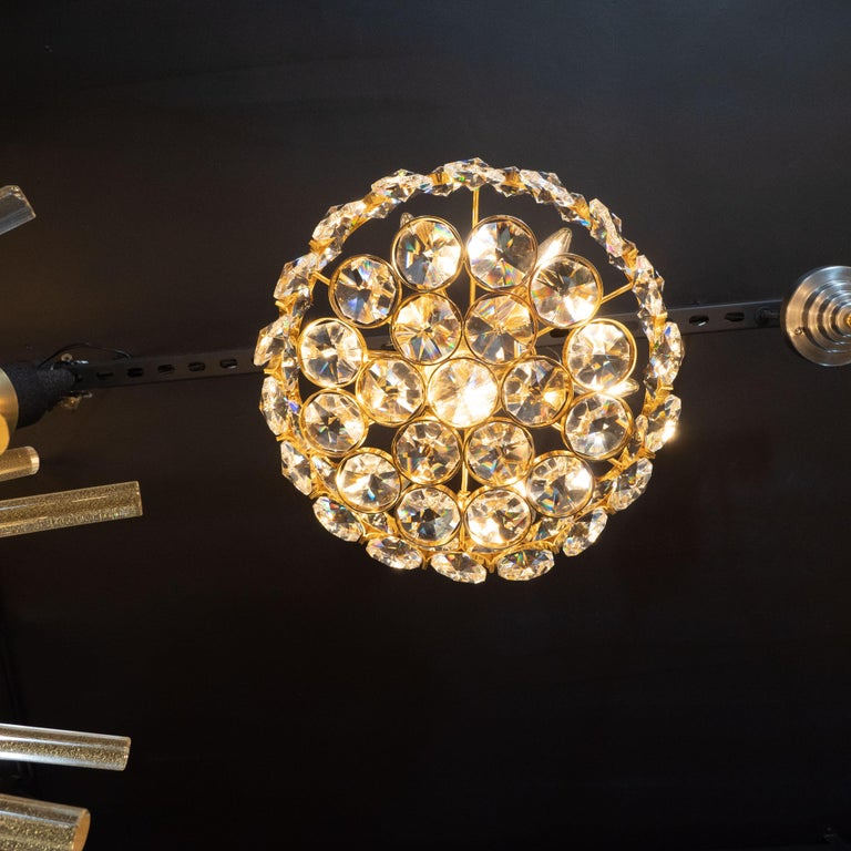 Brass Mid-Century Modern Gold-Plated and Cut Crystal Chandelier by Bakalowits & Sohne For Sale