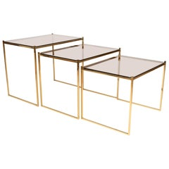 Mid-Century Modern Gold-Plated Nesting Side Tables by Milo Baughman, USA