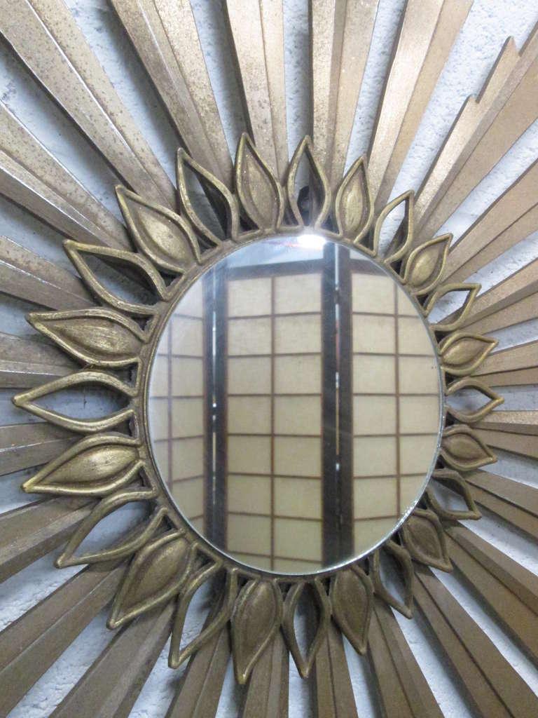 Mid-Century Modern Gold Sunburst Mirror For Sale at 1stdibs
