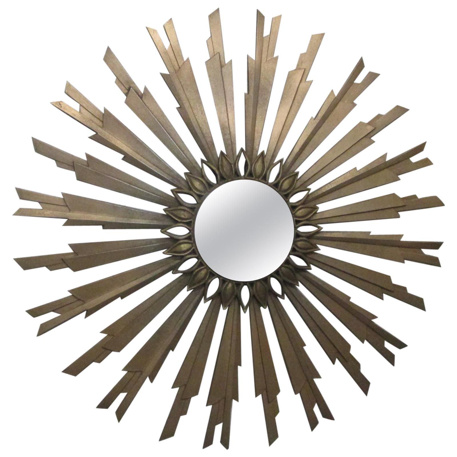 Mid-Century Modern Gold Sunburst Mirror