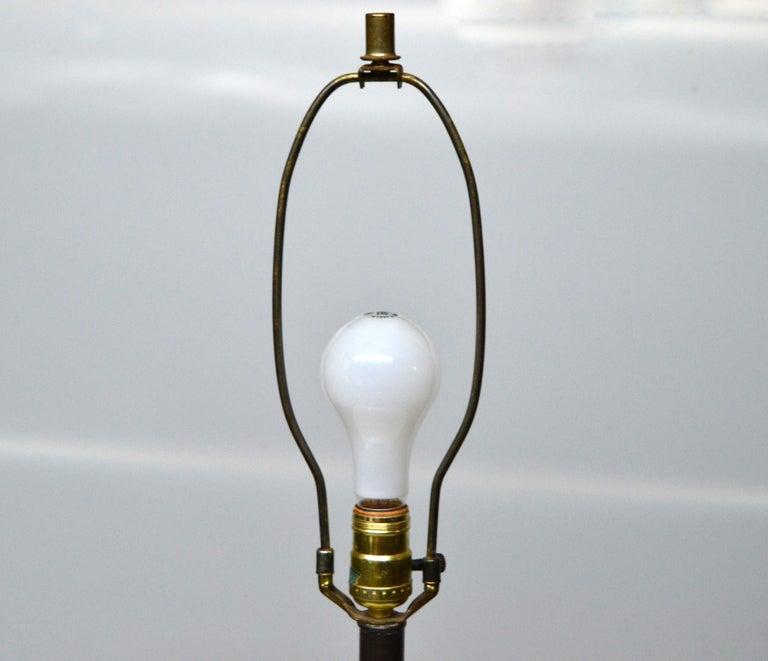 Mid-Century Modern Golden Greek Key Pattern Ceramic Table Lamp Wood Walnut Base  For Sale 1