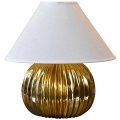 Mid-Century Modern Golden Ribbed Table Lamp with Oval Linen Shade, Italy