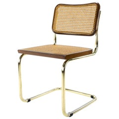 Mid-Century Modern Golden Steel Cesca Chair of Marcel Breuer, Italy, 1970