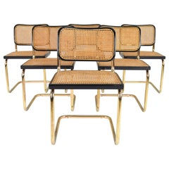 Mid-Century Modern Golden Steel Cesca Chairs of Marcel Breuer, Italy, 1970