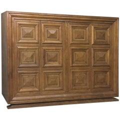 Mid-Century Modern Grand Oak Bookcase