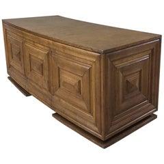 Mid-Century Modern Grand Oak Crescent-Shaped Desk