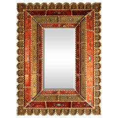 Mid-Century Modern Graphic Gilded Reverse Églomisé Hand-Painted Venetian Mirror