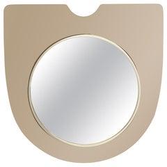 Mid-Century Modern Graphic Italian Smoked Citrine Floating Shield Form Mirror