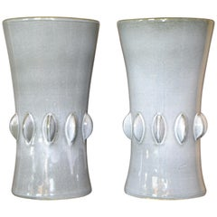 Mid-Century Modern Gray Ceramic Vases with Dripping Glaze, Pair