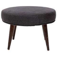 Mid-Century Modern Gray Upholstered Ottoman
