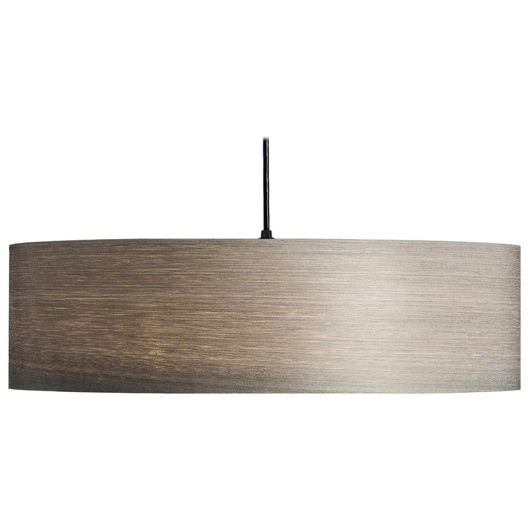 Mid-Century Modern Gray Wood Veneer Drum Pendant For Sale