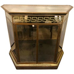 Mid-Century Modern Greek Key Design All Mirrored Bar or Serving Station