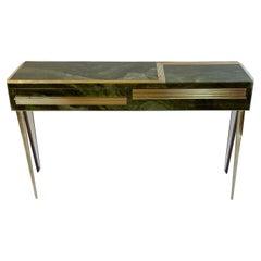 Mid-Century Modern Green Artistic Murano Glass Console w/ Brass & Wood Details
