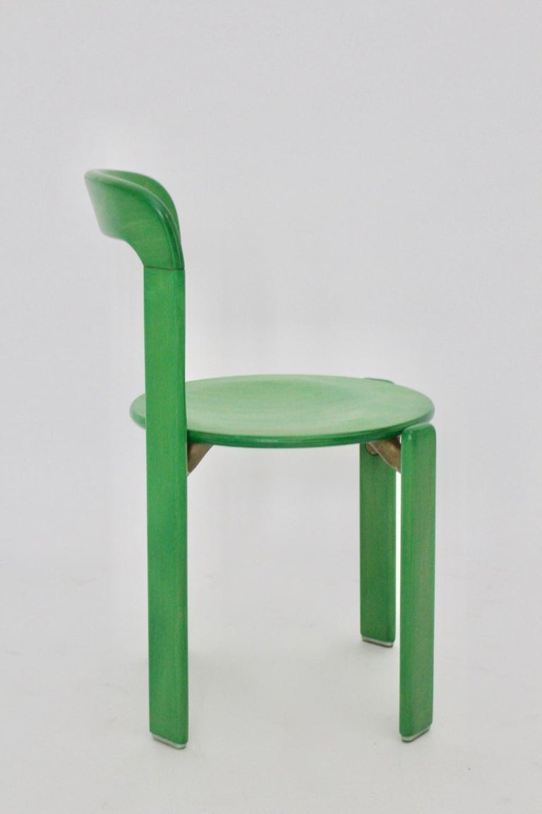 Mid-Century Modern Green Beech Vintage Dining Chairs Bruno Rey Set of Ten, 1970s For Sale 4