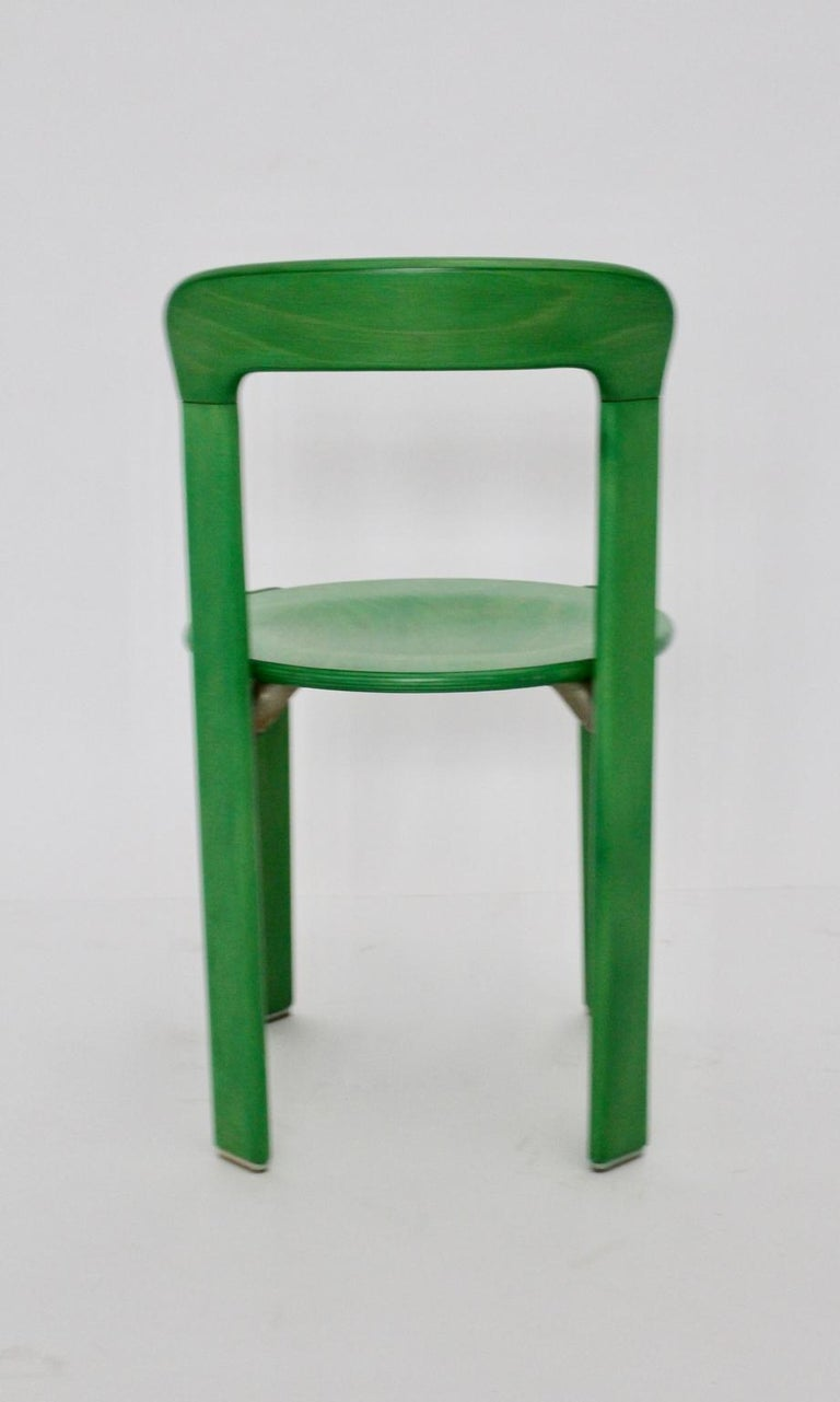 Mid-Century Modern Green Beech Vintage Dining Chairs Bruno Rey Set of Ten, 1970s For Sale 5