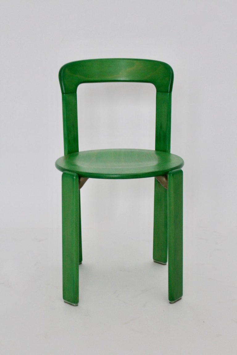 Mid-Century Modern Green Beech Vintage Dining Chairs Bruno Rey Set of Ten, 1970s For Sale 6