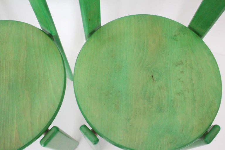 Mid-Century Modern Green Beech Vintage Dining Chairs Bruno Rey Set of Ten, 1970s For Sale 7