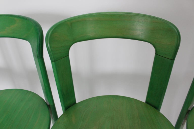 Mid-Century Modern Green Beech Vintage Dining Chairs Bruno Rey Set of Ten, 1970s For Sale 8