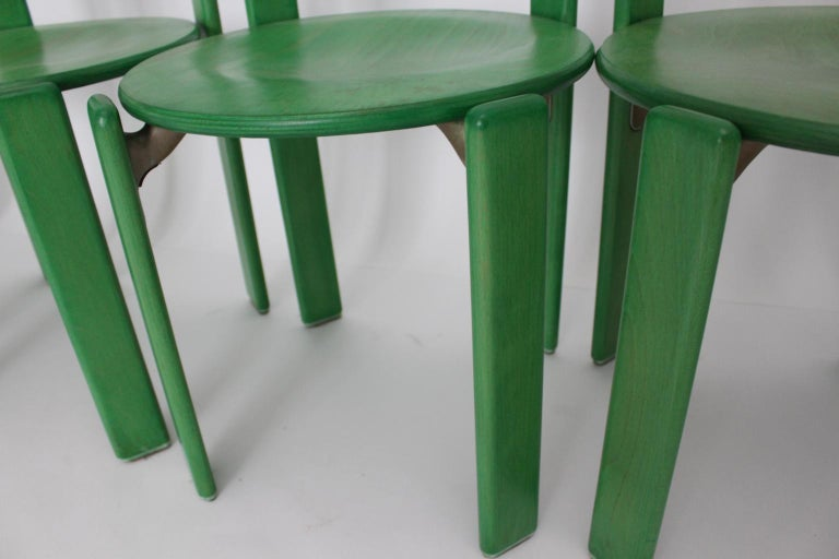 Mid-Century Modern Green Beech Vintage Dining Chairs Bruno Rey Set of Ten, 1970s For Sale 9