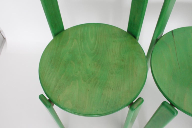 Mid-Century Modern Green Beech Vintage Dining Chairs Bruno Rey Set of Ten, 1970s For Sale 10