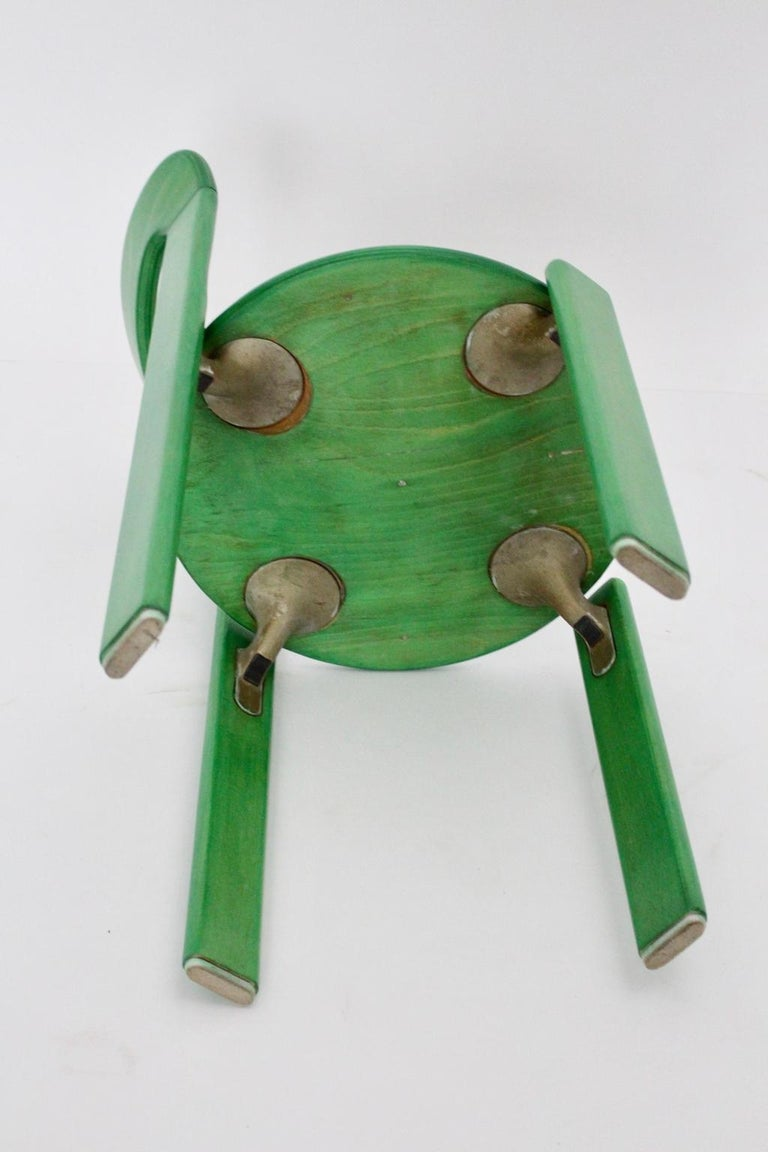 Mid-Century Modern Green Beech Vintage Dining Chairs Bruno Rey Set of Ten, 1970s For Sale 11