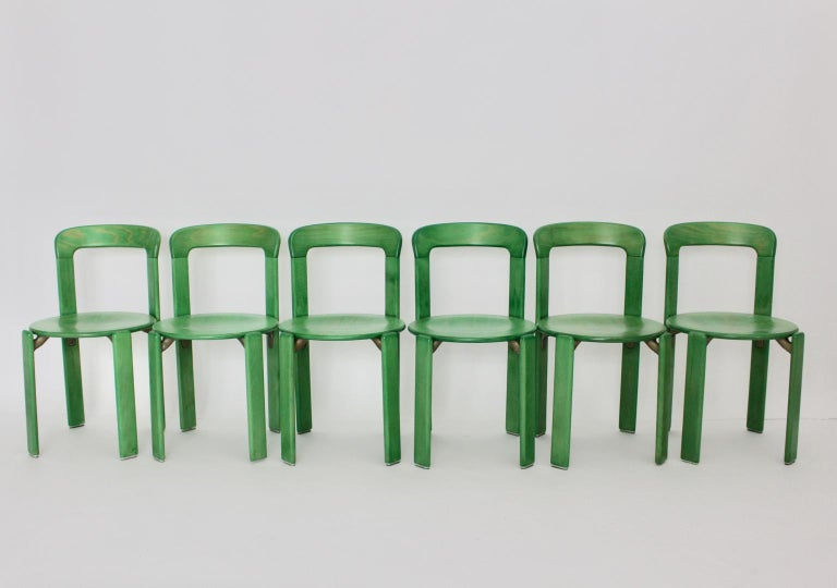 A set of ten stackable vintage dining room chairs, which were designed by Bruno Rey, Switzerland, circa 1970.