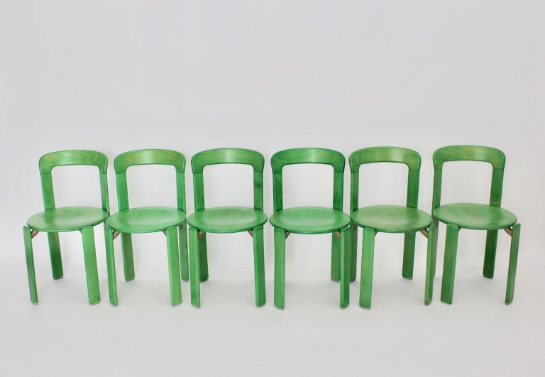 German Mid-Century Modern Green Beech Vintage Dining Chairs Bruno Rey Set of Ten, 1970s For Sale