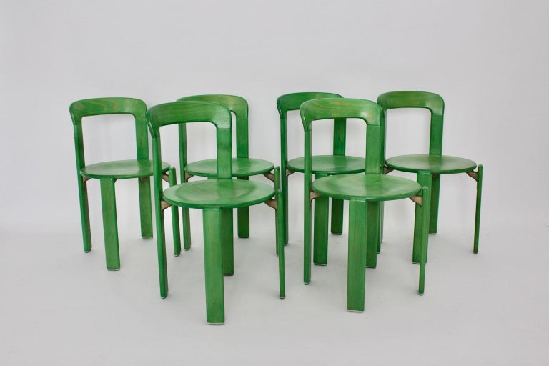 Mid-Century Modern Green Beech Vintage Dining Chairs Bruno Rey Set of Ten, 1970s In Good Condition For Sale In Vienna, AT