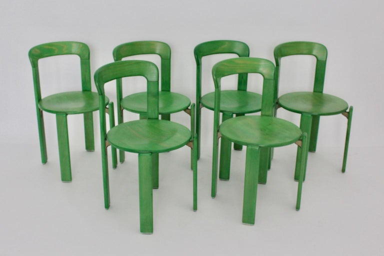 Late 20th Century Mid-Century Modern Green Beech Vintage Dining Chairs Bruno Rey Set of Ten, 1970s For Sale
