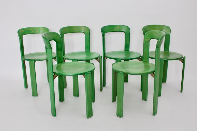 Aluminum Mid-Century Modern Green Beech Vintage Dining Chairs Bruno Rey Set of Ten, 1970s For Sale