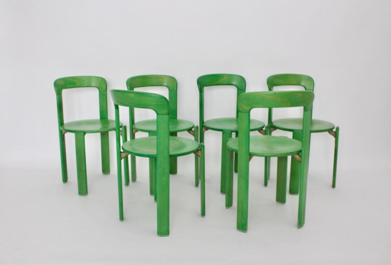 Mid-Century Modern Green Beech Vintage Dining Chairs Bruno Rey Set of Ten, 1970s For Sale 1