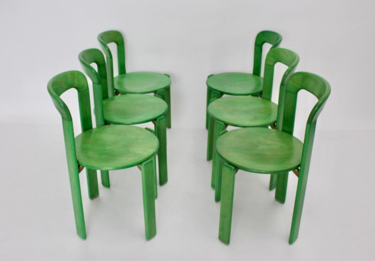 Mid-Century Modern Green Beech Vintage Dining Chairs Bruno Rey Set of Ten, 1970s For Sale 2