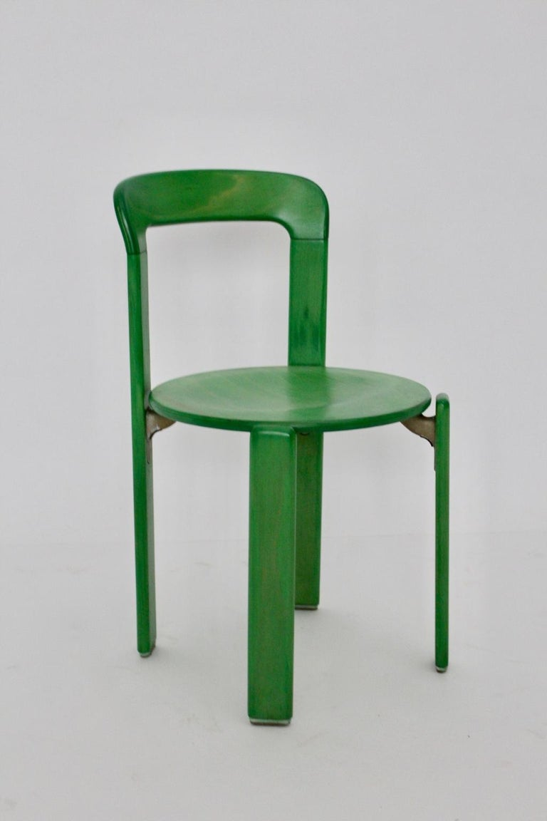 Mid-Century Modern Green Beech Vintage Dining Chairs Bruno Rey Set of Ten, 1970s For Sale 3