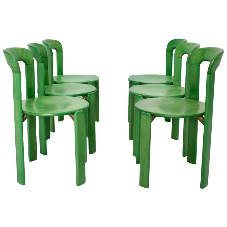 Mid-Century Modern Green Beech Vintage Dining Chairs Bruno Rey Set of Ten, 1970s For Sale