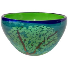 Mid-Century Modern Green & Blue Art Glass 3D Tree Centerpiece, Bowl Studio Piece