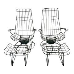 Mid-Century Modern Green Cast Iron Homecrest Wire Lounge Chairs & Ottomans 4 Pcs