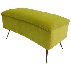 Mid-Century Modern Green Cotton Velvet Italian Stool