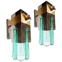 Mid-Century Modern Green Glass, Brass and Chrome Sconces, Sciolari Style, 1970s