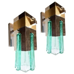 Mid-Century Modern Green Glass Brass Chrome Geometric Sconces Sciolari Style