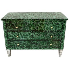 Mid-Century Modern Green-Malachite Colored Glass Italian Chest of Drawers